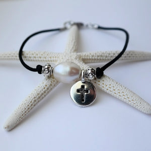 Cross Pendant and Pearl Leather Bracelet - Coastal Faith