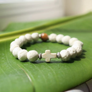 Natural Wood and Lava Rock Bead Bracelet with Cross - Coastal Faith