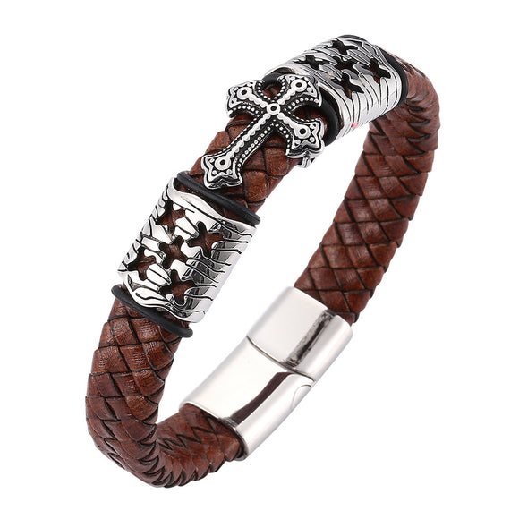 Buckle Cross Magnetic Titanium Steel Bracelet - Coastal Faith