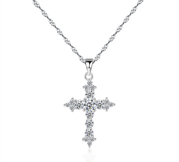 Sterling Silver Crystal Cross Necklace - Coastal Faith