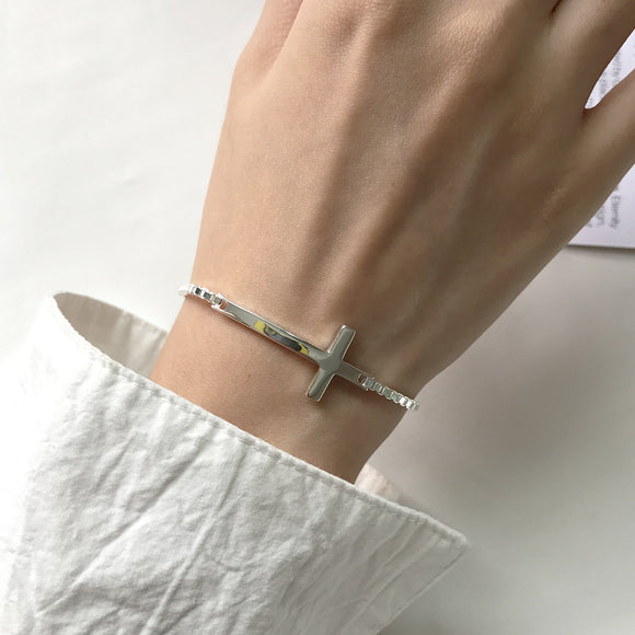 925 Sterling Silver Oversize Cross Bracelet - Coastal Faith