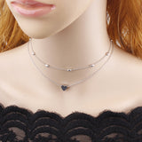 Heart Pendant Chain Necklace With Beaded Choker - Coastal Faith