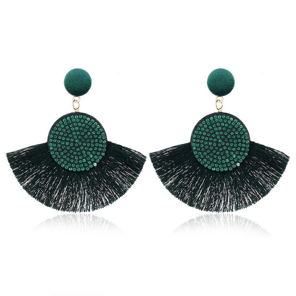 Gem Encrusted Fringed Fan Earrings - Coastal Faith