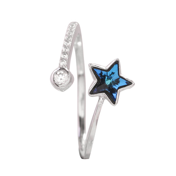 925 Sterling Silver Blue Star Adjustable Ring - Coastal Faith