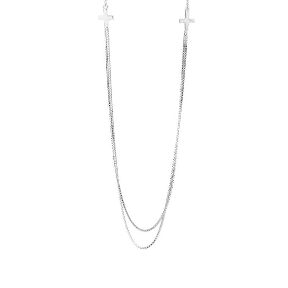 925 Sterling Silver Double Cross Clavicle Chain Necklace - Coastal Faith