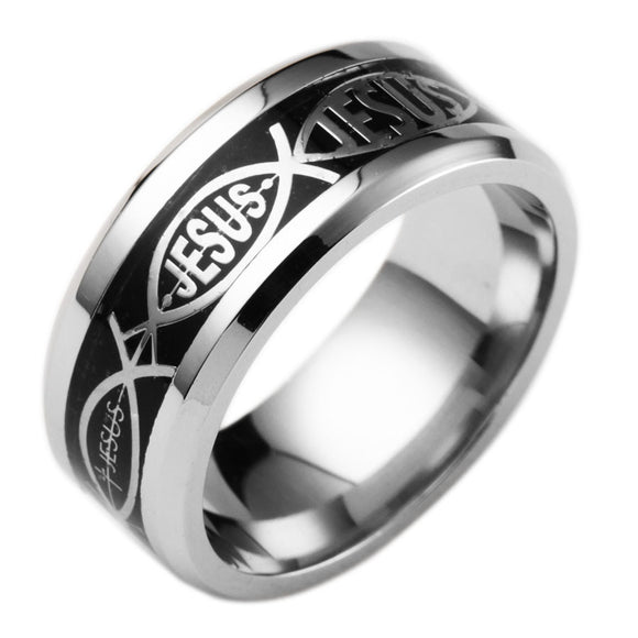 Unisex Jesus Cross Ring Stainless Steel - Coastal Faith