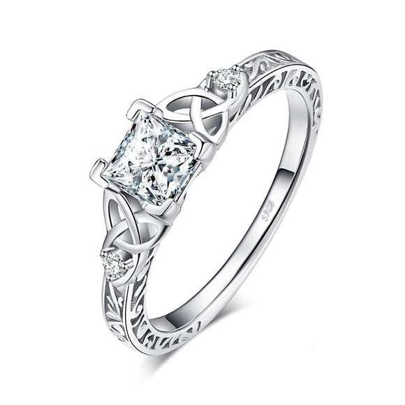 925 Sterling Silver Celtic Love Knot Ring with Princess Cut Crystal - Coastal Faith