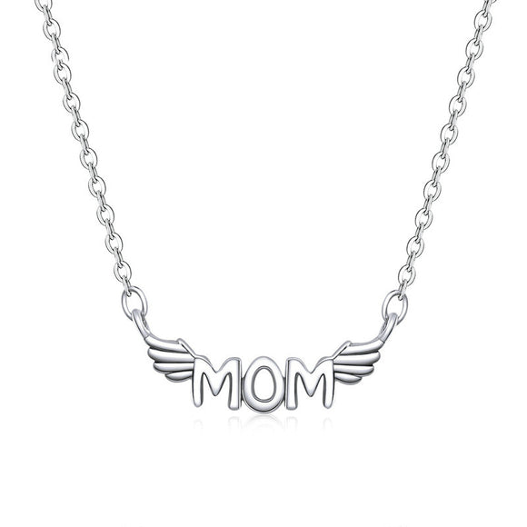Mom Angel Wings Silver Necklace - Coastal Faith