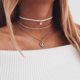 Elizabethan Layered Pearl Cross Choker Necklace - Coastal Faith