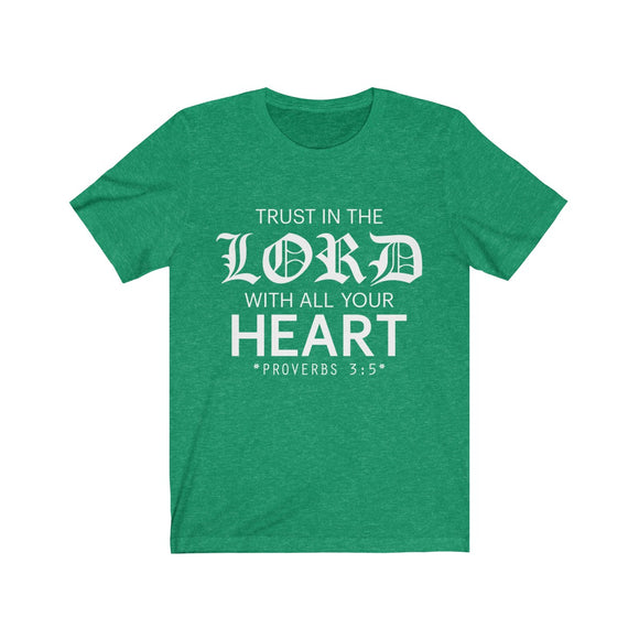 Trust in the Lord Unisex Jersey T-Shirt (reverse) - Coastal Faith
