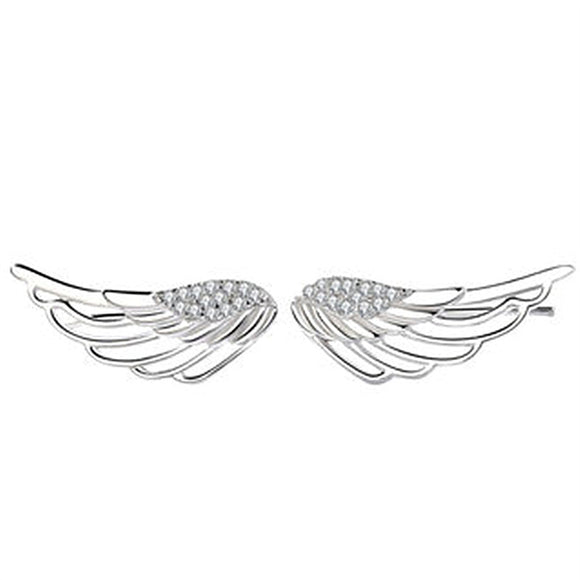 Angel Wings Stud Earrings with Diamond Accents - Coastal Faith