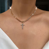 Vintage Style Necklace with Crystal Cross Pendant - Coastal Faith