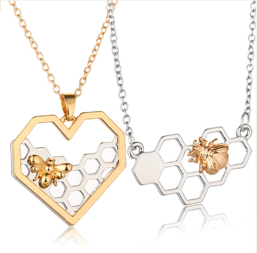 Heart Honeycomb Bee Necklace - Coastal Faith