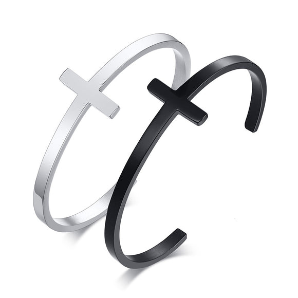 Unisex Minimalist Sideways Cross Bracelet - Coastal Faith