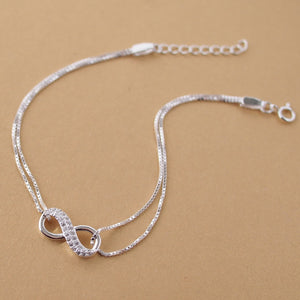 925 Sterling Silver Infinity Bracelet w/Crystal Accent - Coastal Faith