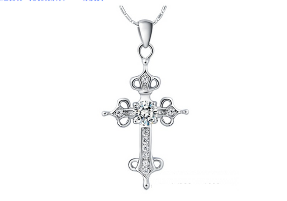 Vintage Cross Crystal Pendant Necklace - Coastal Faith