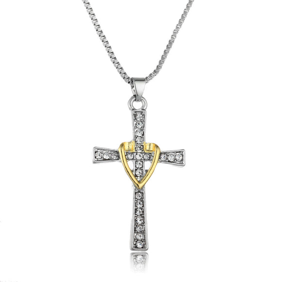 Two-Tone Gold and Silver Heart Cross Necklace - Coastal Faith