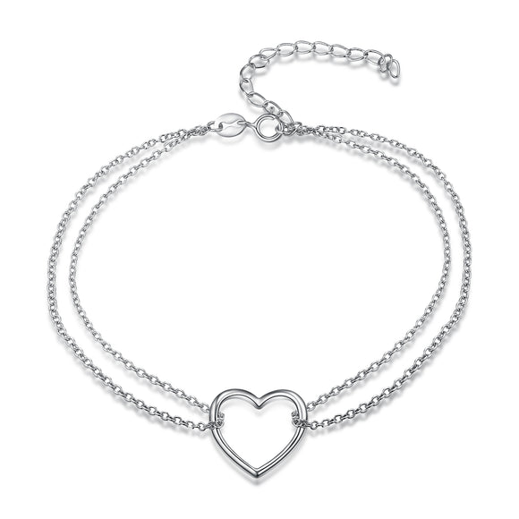 925 Sterling Silver Heart Shape Pendant Bracelet - Coastal Faith