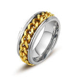 Unisex Chain Spinner Titanium Steel Ring - Coastal Faith