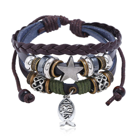 Jesus Fish Ichthys Cross Leather bracelet - Coastal Faith