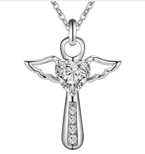 925 Sterling Silver Guardian Angel Pendant Necklace with Crystal Accent - Coastal Faith
