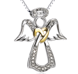 925 Sterling Silver Angel Heart-Shaped Diamond Accent Pendant Necklace - Coastal Faith