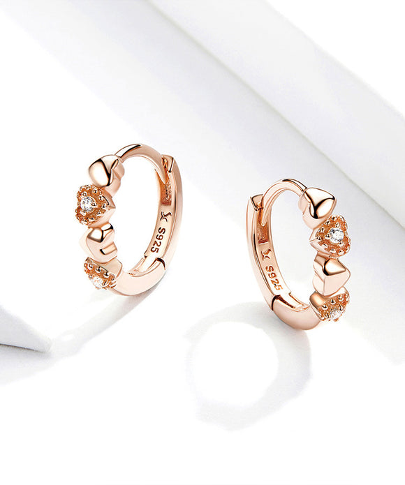 925 Sterling Silver Dainty Rose Gold Love Diamond Earrings - Coastal Faith