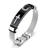 Men's  Modern Steel Mesh Cross Bracelet - Coastal Faith