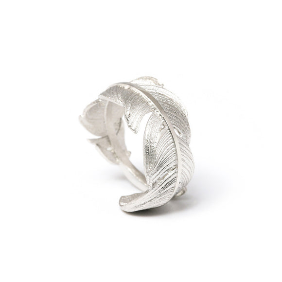 925 Sterling Silver Textured Feather Ring - Coastal Faith