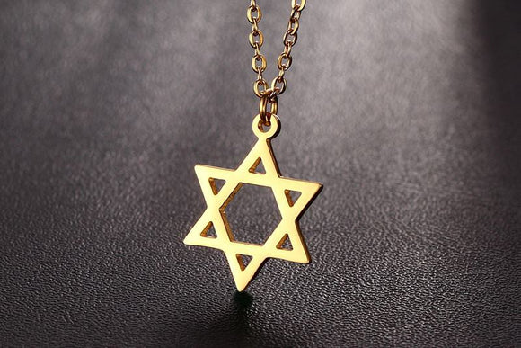 Star of David Gold Titanium Steel necklace - Coastal Faith