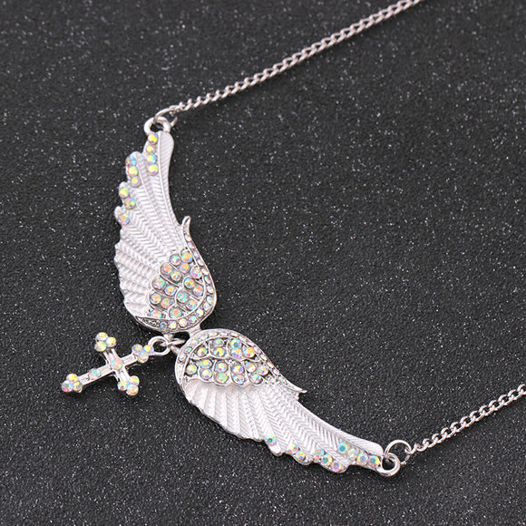 Angel Wings and Cross Diamond Pendant Necklace - Coastal Faith