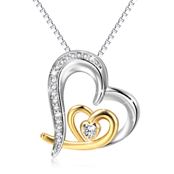 Gold & Silver Heart Pendant 925 Sterling Silver Necklace - Coastal Faith