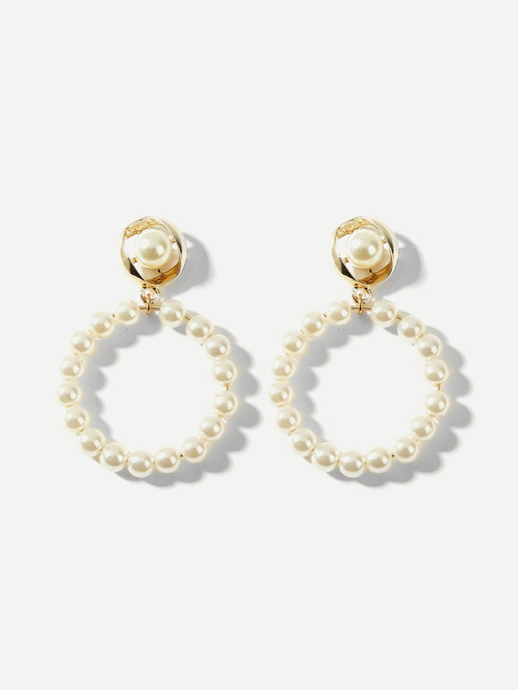 Faux Pearl Decorated Hoop Drop Earrings - Coastal Faith