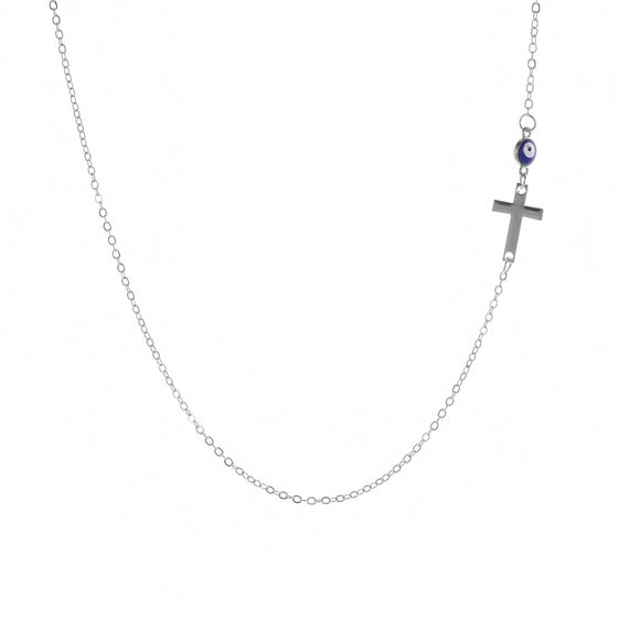 Evil Eye and Sideways Cross Necklace - Coastal Faith