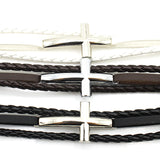 Unisex Braided Leather Cross Bracelet - Coastal Faith