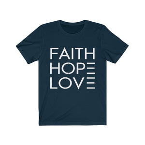 Unisex Faith Hope Love Jersey Bible T-Shirt - Coastal Faith