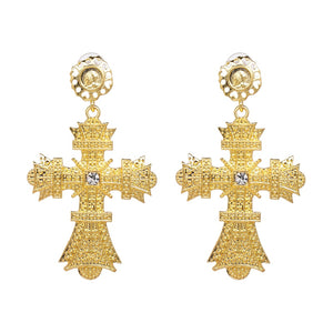 Rhinestone Cross Drop Earrings - Coastal Faith