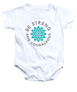 Be Strong and Courageous Flower Bible Baby Onesie - Coastal Faith