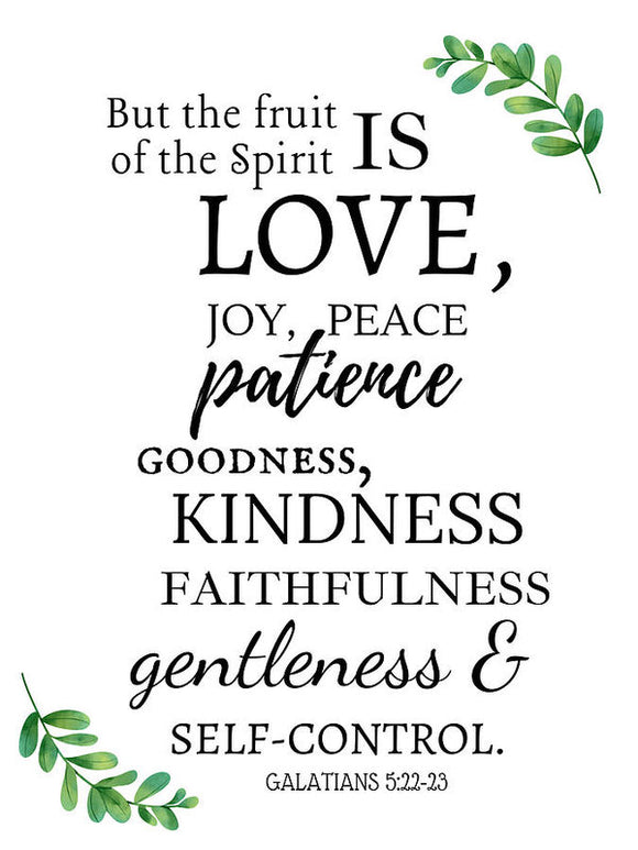 Fruit of the Christian Spirit Galatians 5:22 Art Print - No Frame - Coastal Faith