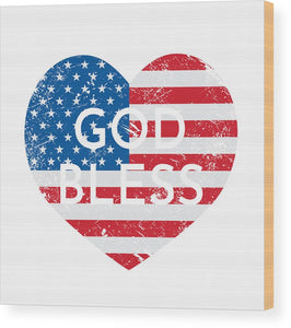 God Bless America Rustic Wood Print - Coastal Faith
