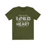 Trust in the Lord Unisex Jersey Bible T-Shirt (reverse) - Coastal Faith