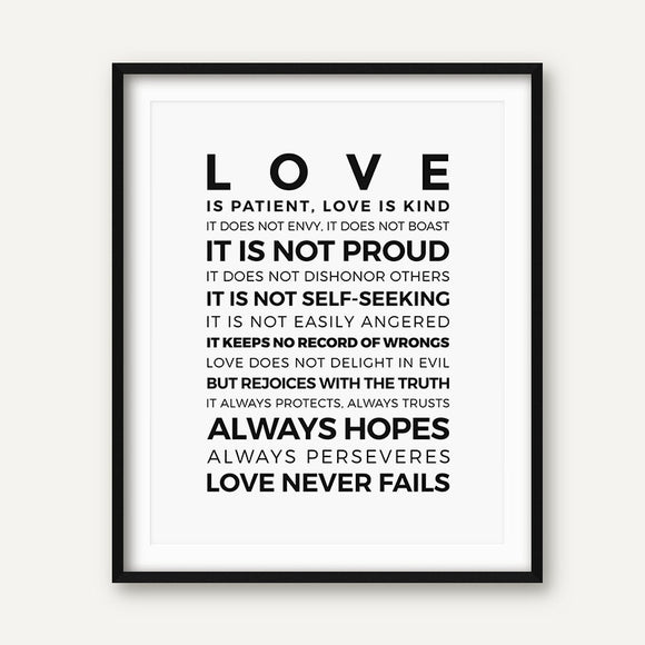 Love is Patient Love is Kind Print - No Frame - Coastal Faith