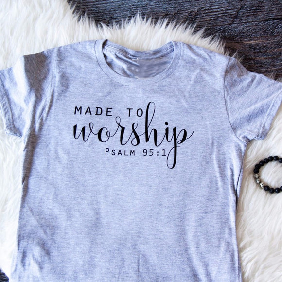 Made to Worship Vintage Bible T-shirt Women - Coastal Faith
