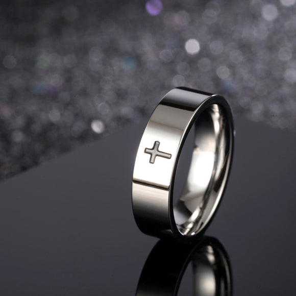 Unisex Stainless Steel Modner Black Cross Ring - Coastal Faith