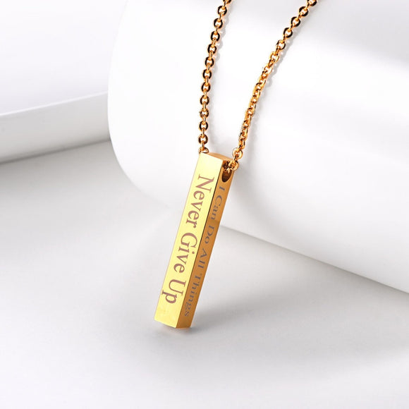 Personalized Bar Pendant Necklace Custom Engraving Unisex - Coastal Faith