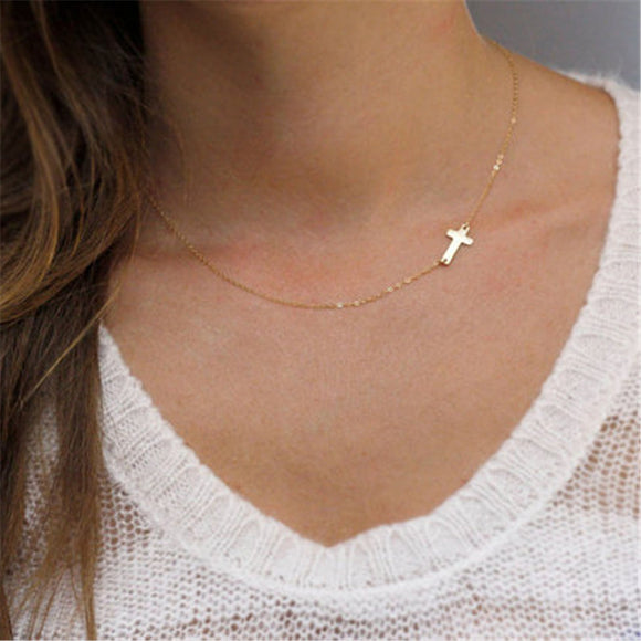 Dainty Tiny Gold Sideways Cross Necklace - Coastal Faith