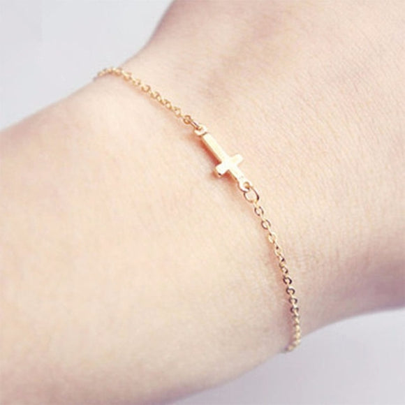 Dainty Jesus Sideways Cross Bracelet - Coastal Faith