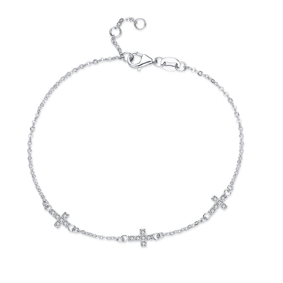 Dainty Minimalist 925 Sterling Silver Zircon Cross Bracelet - Coastal Faith