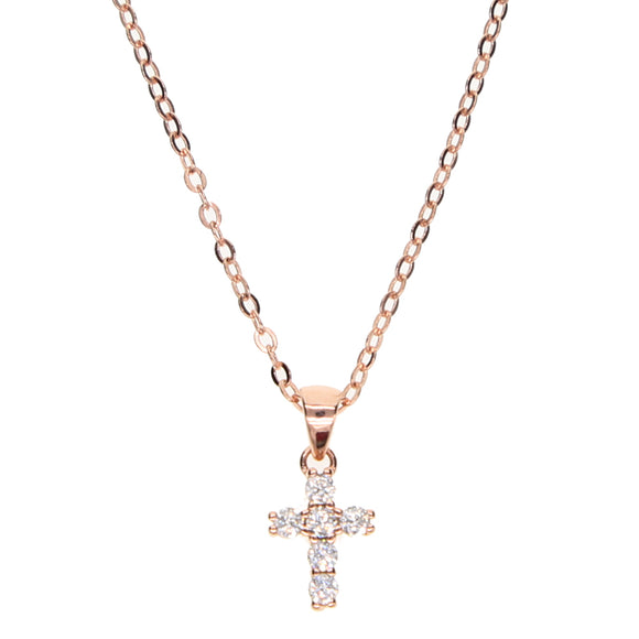 925 Sterling Silver Tiny Dainty Cross Pendant Choker Necklace w/pave crystal - Coastal Faith
