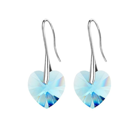 Swarovski Crystal Heart Drop Earrings - Coastal Faith